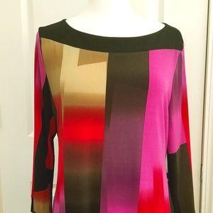 Abstract Boatneck Mini Dress or Long Shirt